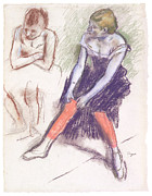 Stockings Pastels Posters - Dancer with Red Stockings Poster by Edgar Degas