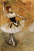 Tutu Painting Posters - Dancer with Tambourine Poster by Edgar Degas