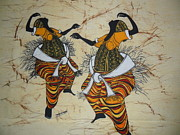 Traditional Tapestries - Textiles Framed Prints - Dancers At Climax Framed Print by Joseph Kalinda