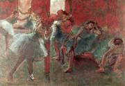 Ballet Dancers Painting Prints - Dancers at Rehearsal Print by Edgar Degas