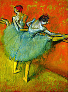 Dancer Paintings - Dancers at the Bar by Edgar Degas by Pg Reproductions