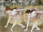 Ballerina Dancing Framed Prints - Dancers Bending Down Framed Print by Edgar Degas