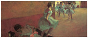 Ballet Dancers Paintings - Dancers Climbing a Stair by Edgar Degas
