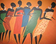 Women Together Art - Dancers close up by Pat Barker