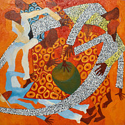 Shadow Dancing Painting Framed Prints - Dancers III Framed Print by Kizito Maria Kasule