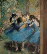 Ballet Dancers Posters - Dancers in blue Poster by Edgar Degas
