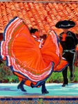 Ballet Dancers Paintings - Dancers in Old Town San Diego California by RD Riccoboni