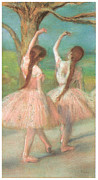 Ballet Dancers Pastels Prints - Dancers In Pink Print by Edgar Degas