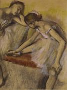 Warming Up Prints - Dancers in Repose Print by Edgar Degas