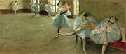 Interior Paintings - Dancers in the Classroom by Edgar Degas