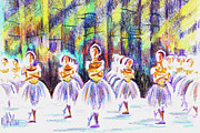 Purple Crayon Framed Prints - Dancers in the Forest III Framed Print by Kip DeVore