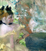 Dancers Pastels Framed Prints - Dancers in the Wings  Framed Print by Edgar Degas