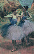 Women Pastels Framed Prints - Dancers in Violet  Framed Print by Edgar Degas