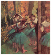 Ballet Dancers Pastels Metal Prints - Dancers Pink and Green Metal Print by Edgar Degas