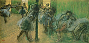 Standing Painting Framed Prints - Dancers rehearsing Framed Print by Edgar Degas