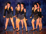 Dance Mixed Media Metal Prints - Dancers  Spring Glitz     Metal Print by Kathy Braud