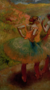 Oil Pastels Framed Prints - Dancers Wearing Green Skirts Framed Print by Edgar Degas