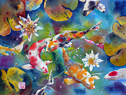 Waterscape Painting Prints - Dances with kois Print by Andre MEHU
