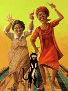 African American Women Paintings - Dancin Cause its Tuesday by Shelly Wilkerson
