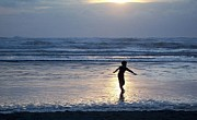 Surf Silhouette Framed Prints - Dancing Boy at Sunset Framed Print by Peter Mooyman