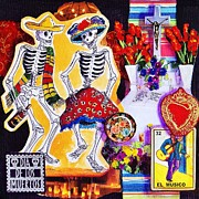 Dia De Los Muertos Framed Prints - Dancing Framed Print by Candy Mayer