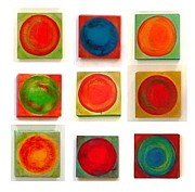 Wood Blocks Paintings - Dancing Circles No1 by Rosemary Pierce