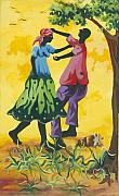 Haitian Painting Framed Prints - Dancing Couple Framed Print by Herold Alvares