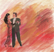Lady In Red Gown Drawings - Dancing Couple by Sharmila L