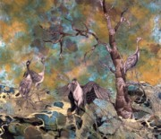 Cranes Mixed Media Prints - Dancing Cranes Print by Aurora Jenson