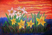 Belinda Lawson Metal Prints - Dancing Daffodils Metal Print by Belinda Lawson
