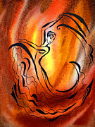 Expression Paintings - Dancing Fire I by Irina Sztukowski