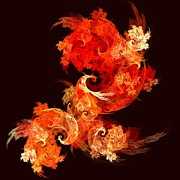 Color Image Framed Prints Digital Art Prints - Dancing Firebirds Print by Oni H