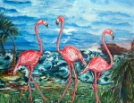 Abstract Wildlife Paintings - Dancing Flamingos  by Yelena Rubin
