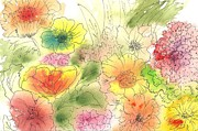 Watercolor And Ink Paintings - Dancing Flowers by Christine Crawford