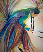 American Eagle Painting Metal Prints - Dancing for my Son Metal Print by Elizabeth  Webb