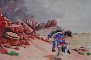 Southwest Landscape Paintings - Dancing for the Thunder Gods by John W Walker