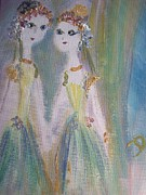 Ballet Dancers Paintings - Dancing Friends by Judith Desrosiers