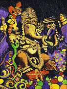 Ganapathi Paintings - Dancing Ganesh Color by Sushobha Jenner