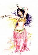 Belly Dancer Paintings - Dancing Girl by Ken Meyer jr