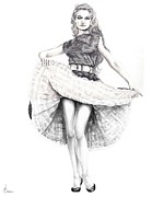 Dancing Girl Drawings Framed Prints - Dancing Girl Framed Print by Murphy Elliott