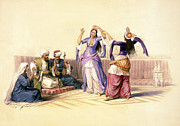 Roberts Drawings - Dancing girls at Cairo by Munir Alawi
