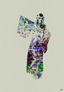 Dancing Girl Prints - Dancing in Kimono Print by Irina  March