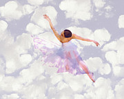 Ballet Art Painting Prints - Dancing in the Clouds Print by Stefan Kuhn
