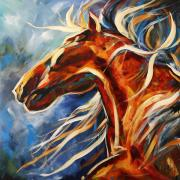 Abstract Horse Paintings - Dancing in the Moonlight by Laurie Pace