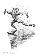 Linocut Art - Dancing In The Rain, Conceptual Artwork by Bill Sanderson