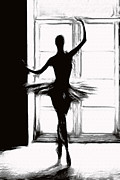 Dancer Art Drawings Posters - Dancing into the Light Poster by Stefan Kuhn