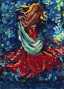 Lady In Red Prints - Dancing Lady In Red Print by Mary DuCharme