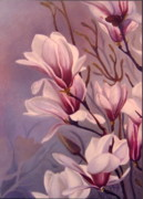 Pink Flower Branch Paintings - Dancing Magnolias  by Daniela Easter