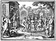 Church Yard Framed Prints - DANCING MANIA, c1600 Framed Print by Granger