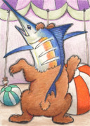 Sailfish Drawings Posters - Dancing Merlbear Poster by Amy S Turner